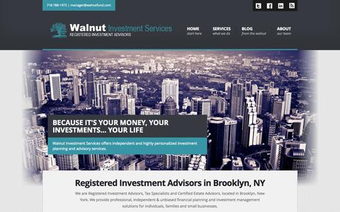 Screenshot of Home Page walnutfund.com - Walnut Investment Services - Registered Investment Advisor in Brooklyn - captured Oct. 6, 2014