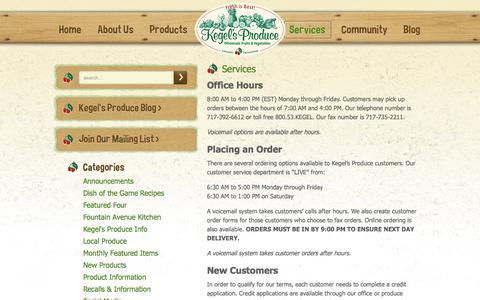 Screenshot of Services Page kegels.com - Services | Kegel's Produce - captured Oct. 6, 2014