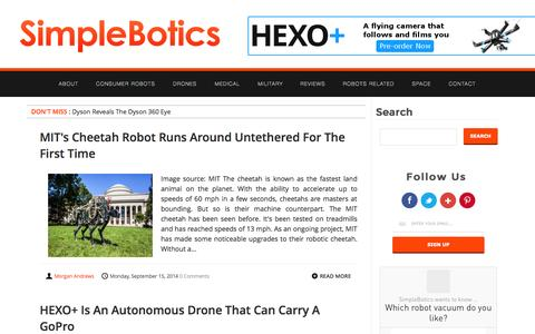Screenshot of Home Page simplebotics.com - SimpleBotics - Daily coverage on the evolving world of robotics - captured Sept. 22, 2014
