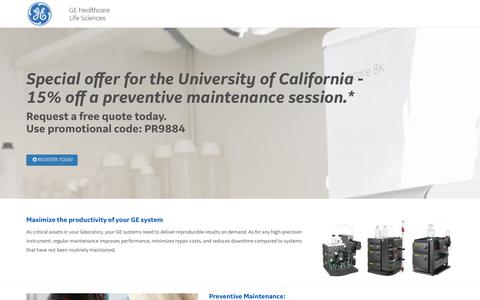 Screenshot of Landing Page gehealthcare.com - ge life sciences preventative maintenance - captured May 21, 2018