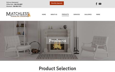 Screenshot of Products Page matchless.info - Products   Ventless Gas Fireplace in Troy, Albany & Clifton Park, NY   Matchless Stove & Chimney - captured July 2, 2018
