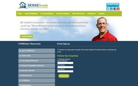 Screenshot of Signup Page hometeamnh.org - Email Signup   HOMEteam - captured Sept. 25, 2018