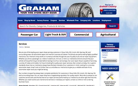 Screenshot of Services Page grahamtire.com - Services Graham Tire - captured Oct. 8, 2014
