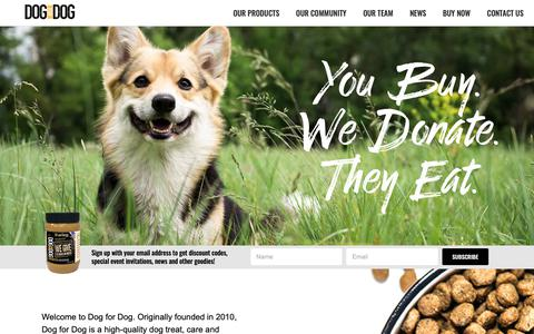 Screenshot of Home Page dogfordog.com - Dog For Dog – Dog Food, Accessories, and Toys - captured June 5, 2019