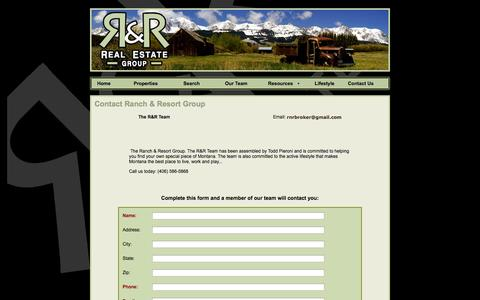 Screenshot of Contact Page ranchandresortgroup.com - Ranch and Resort Group Real Estate - captured Oct. 26, 2014