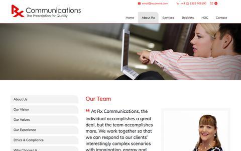 Screenshot of Team Page rxcomms.com - Our Team   Rx Communications - captured Oct. 25, 2017