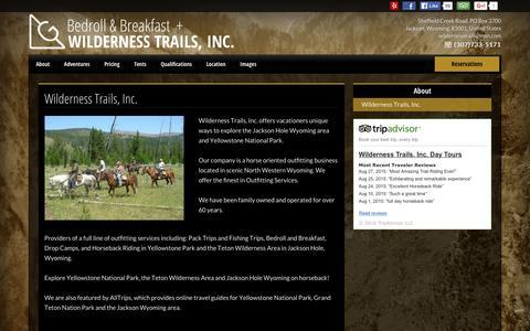 Screenshot of About Page wildernesstrailsinc.com - Wilderness Trails, Inc. - Bedroll and Breakfast ™ - Jackson - United States - captured Feb. 28, 2016