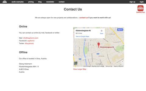 Screenshot of Contact Page auphonic.com - Contact - captured Sept. 22, 2014