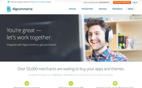Screenshot of Developers Page bigcommerce.com - Sell Your Ecommerce Apps, Plug-ins & Software - Bigcommerce App Store - captured Oct. 29, 2014