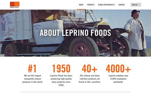Screenshot of About Page leprinofoods.com - About Leprino, Dairy Industry Leader since 1950   Leprino Foods - captured July 18, 2018