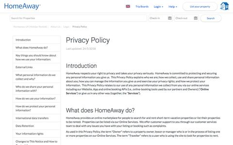 Screenshot of Privacy Page homeaway.co.uk - Privacy Policy | Homeaway UK (Holiday-Rentals) - captured July 12, 2018