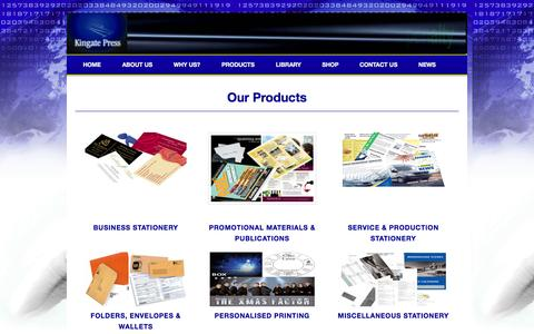 Screenshot of Products Page kingate.co.uk - KINGATE PRESS - PRODUCTS - captured Oct. 6, 2014