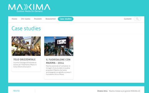 Screenshot of Case Studies Page maximaesterna.it - Case studies | MAXIMA Outdoor Media On-Demand - captured Nov. 1, 2014