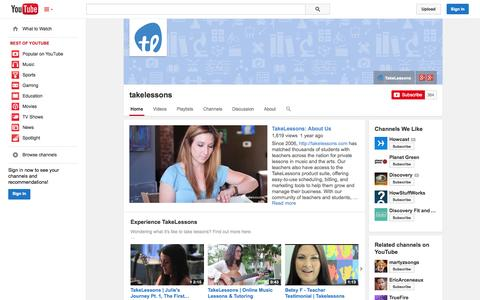 Screenshot of YouTube Page youtube.com - takelessons  - YouTube - captured Oct. 22, 2014