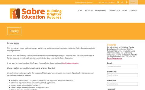 Screenshot of Privacy Page sabre.education - Privacy - Sabre Education - captured Oct. 20, 2018