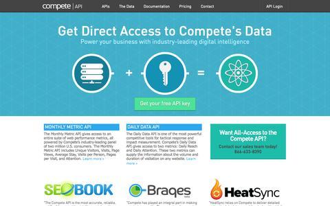 Screenshot of Developers Page compete.com - Compete API | Home - captured Sept. 18, 2014