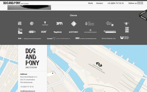 Screenshot of Contact Page dogandpony.nl - Dog and Pony Amsterdam - captured Oct. 5, 2014