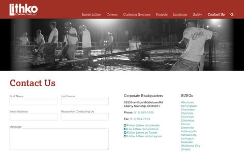 Screenshot of Contact Page lithko.com - Contact Us | Lithko - captured Nov. 10, 2016