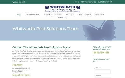 Screenshot of Team Page whitworthpestsolutions.com - Our Pest Control Team in Seattle & Tacoma | Whitworth Pest Solutions - captured Oct. 19, 2018