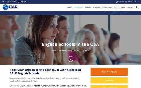 Screenshot of Locations Page talk.edu - English Schools in the USA | TALK English Schools - captured Oct. 18, 2018