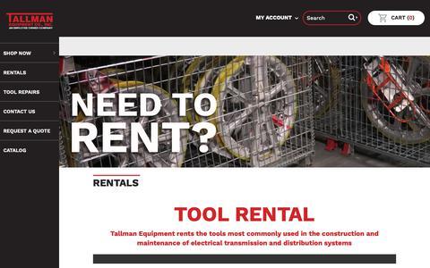 Screenshot of Services Page tallmanequipment.com - Rentals | Tallman Equipment Co., Inc. - captured Oct. 19, 2018