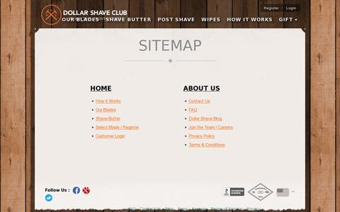 Screenshot of Site Map Page dollarshaveclub.com - Site Map | Dollar Shave Club - captured July 20, 2014