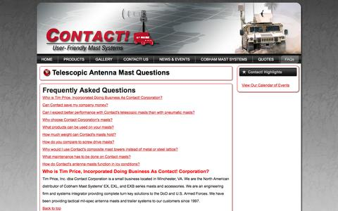 Screenshot of FAQ Page contactcorp.net - Composite Mast Frequently Asked Questions - Contact! Corporation - captured Feb. 16, 2016