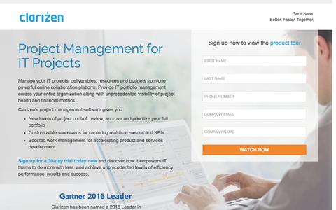 Screenshot of Landing Page clarizen.com - Project Management for IT Projects - captured July 25, 2016