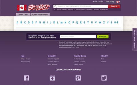 Screenshot of Site Map Page retailmenot.ca - Retailmenot Sitemap - captured Oct. 29, 2014