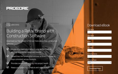 Screenshot of Landing Page procore.com - Building a Retail Brand with Construction Software - captured March 15, 2016