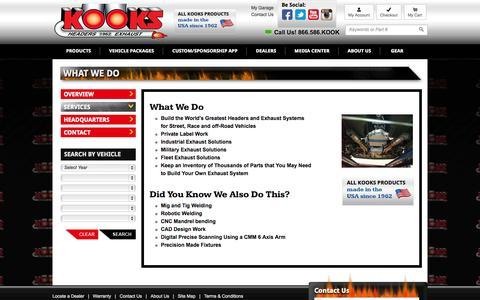 Screenshot of Services Page kooksheaders.com - What We Do - captured Sept. 22, 2014
