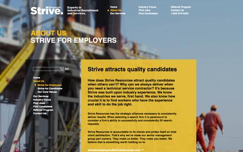 Screenshot of About Page striveresources.com - Strive for Employers  –  Strive Resources Inc. - captured Oct. 7, 2014