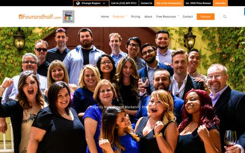Screenshot of Products Page fourandhalf.com - Your #1 Source for Property Management Marketing - Fourandhalf - captured Feb. 25, 2019