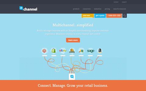 Screenshot of Home Page nchannel.com - Cloud Multichannel Management Platform | nChannel - captured Sept. 16, 2014