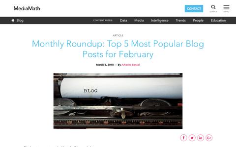 Screenshot of Blog mediamath.com - MediaMath Blog - Monthly Roundup: Top 5 Most Popular Blog Posts for February - captured Nov. 18, 2019