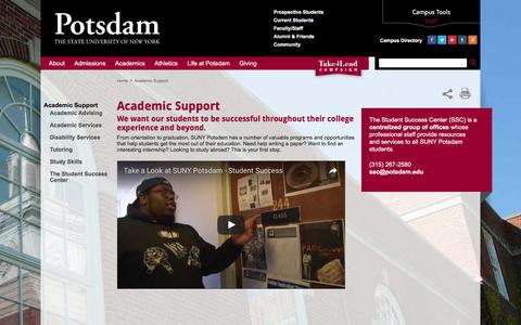 Screenshot of Support Page potsdam.edu - Academic Support | SUNY Potsdam - captured Sept. 4, 2016