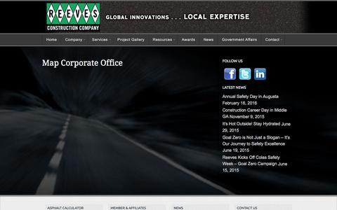 Screenshot of Maps & Directions Page reevescc.com - Map Corporate Office | Reeves Construction Company - captured Feb. 18, 2016