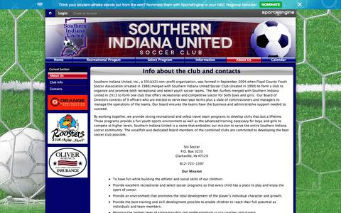 Screenshot of About Page siusoccer.com - Info about the club and contacts - captured June 28, 2018