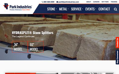 Screenshot of Home Page parkindustries.com - Stone + Metal Fabrication Machinery Solutions | Park Industries - captured July 16, 2018