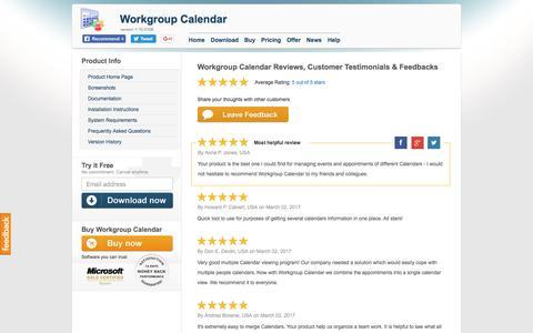 Screenshot of Testimonials Page workgroupcalendar.com - Workgroup Calendar Reviews, Customer Testimonials & Feedbacks - captured March 25, 2017