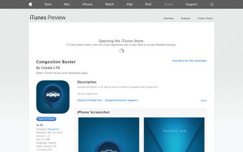 Screenshot of iOS App Page apple.com - Congestion Buster on the App Store on iTunes - captured Oct. 22, 2014