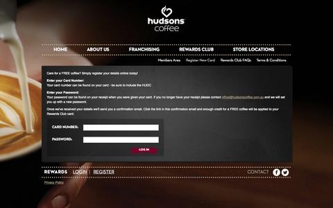 Screenshot of Signup Page hudsonscoffee.com.au - Register New Card | Hudsons Coffee - captured Sept. 30, 2014
