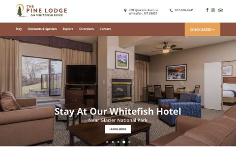 Screenshot of Home Page thepinelodge.com - Whitefish, Montana Hotels   The Pine Lodge - captured Sept. 21, 2018