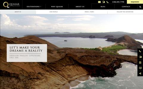 Screenshot of About Page quasarex.com - About Quasar Expeditions Company & History since 1986 - captured Sept. 30, 2018
