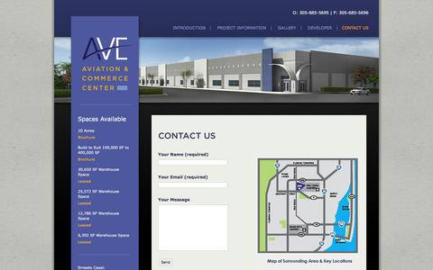 Screenshot of Contact Page avemiami.com - Contact Us | AVE Aviation & Commerce Center - captured July 9, 2017