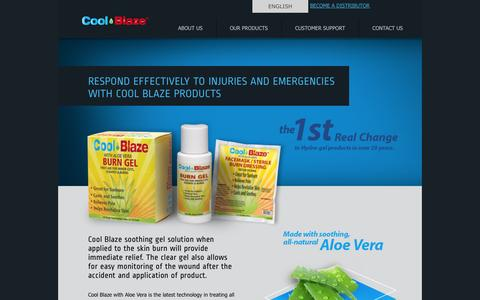 Screenshot of Home Page coolblaze.com - First Aid & Burn Care Products - Cool Blaze Products Inc. - captured Oct. 2, 2014
