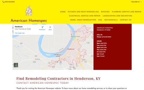 Screenshot of Contact Page americanhomespec.com - Contact Us in Henderson, KY | American Homespec - captured Nov. 1, 2018