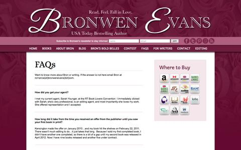 Screenshot of FAQ Page bronwenevans.com - FAQs | Historical and Contemporary Romance Author Bronwen Evans - captured Sept. 25, 2014