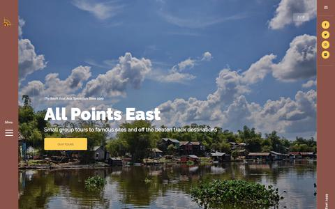 Screenshot of Home Page allpointseast.com - All Points East, Southeast Asia tours and travel specialists - captured July 29, 2018