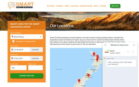Screenshot of Locations Page smartcarrental.co.nz - Locations – Smart Car Rental | Auckland -NZ – Smart Car Rentals - captured Oct. 31, 2018